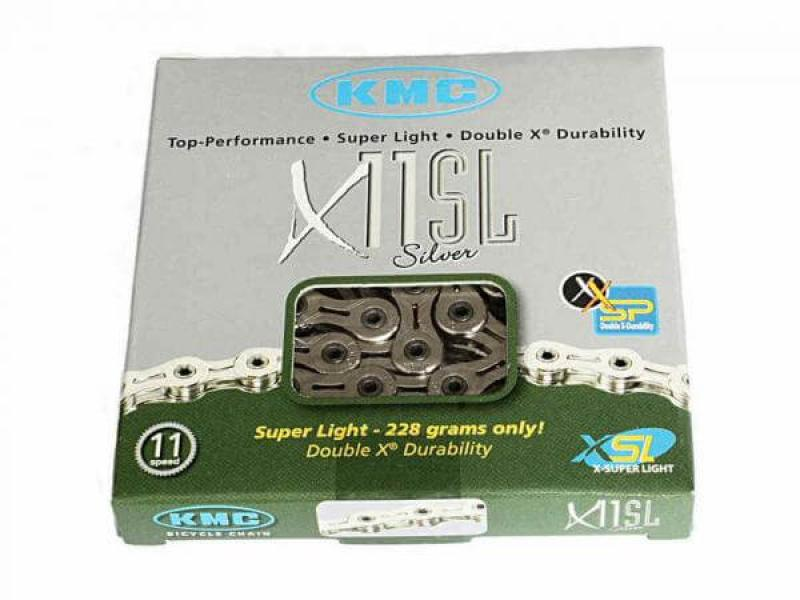 11 speed KMC X11SL chain for Shimano, Campagnolo silver.
