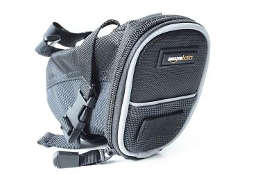 Bicycle saddlebag with mounting strap.